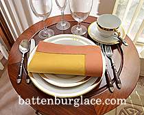 Dinner Napkin. Honey Gold with Raw Seienna color border.Each.