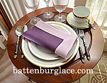 Dinner Napkin. Imperial Purple with Pink Lady color border. Each