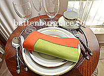 Dinner Napkin. Macaw Green with Flame Orange color border.Each