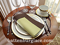 Dinner Napkin.Mellow Green with French Roast color border. each.