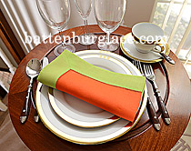 Dinner Napkin.Flame Orange with Macaw Green color border.Each
