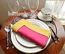 Dinner Napkin.Raspberry Sorbet with Lemon Chrome color border.Ea