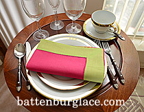 Dinner Napkin.Raspberry Sorbet with Mellow Green color border.Ea