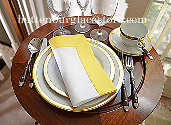 Dinner Napkins. Hemstitched border. White with Aspen Gold.Each