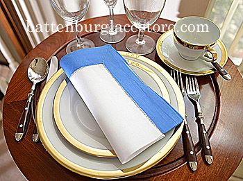 Dinner Napkin.2 inches Hemstitched.French Blue color. Each.