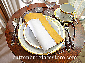 Dinner Napkin.Honey Gold 2in.Hemstitched color. Each.