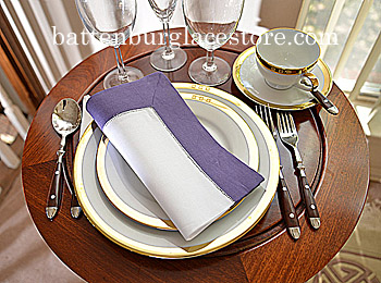 Dinner Napkin. 2in Hemstitched border.White with Imperial Purple