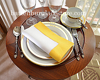 Dinner Napkins.2in Hemstitched border.White Lemon Chrome.Each