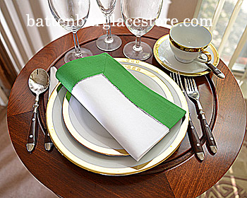 Dinner Napkin. White with Mint Green. 2in Hemstitched border. Ea