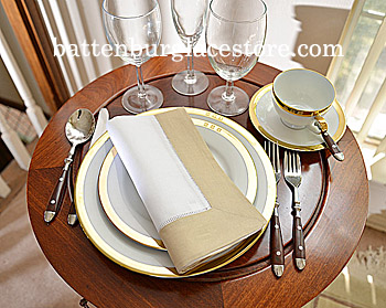 Dinner Napkin. White with Safari-Taupe color border.Each