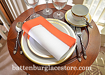 Dinner Napkin. White with Vermillion Orange color border. Each.