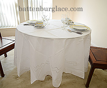 Hemstitched Round Tablecloth 90 inches Round.White