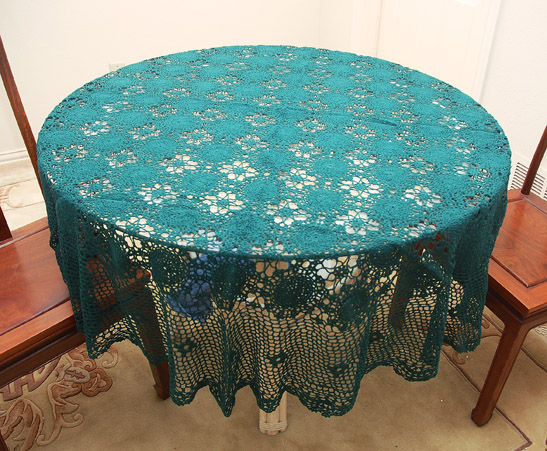 Crochet Round Tablecloth.70x70 inches. Hunter Green Crochet