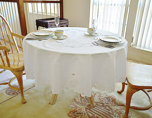 "Imperial fine embroidery round tablecloth 68"" x 68"" Round. White"