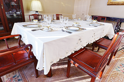 "Imperial Embroidery Tablecloth. 68"" x 90"" EGGNOG (IVORY) color"