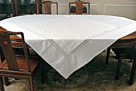 "Hemstitched Square tablecloth 90"" Square. White color"
