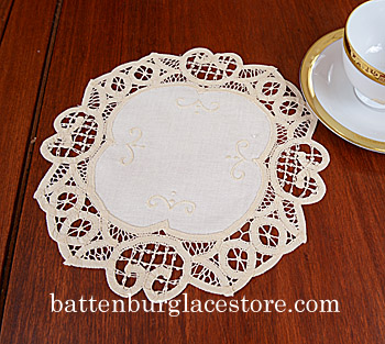Doilies Round.Battenburg Lace 10in.CREAM IVORY color( 6 pieces)