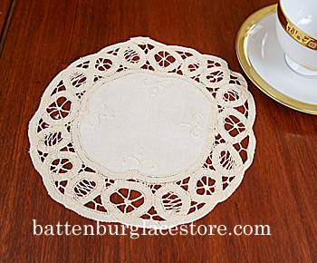 Doilies Round.Battenburg Lace 8 in. Cream Ivory Color (6 pieces)