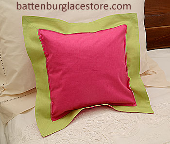"Pillow Sham. RASPBERRY SORBET with MACAW GREEN 12"" SQ."
