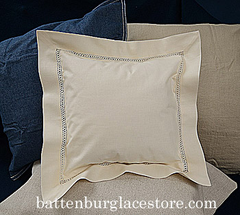 Baby Square Pillow. Hemstitched. Eggnog color. 12 inches square.