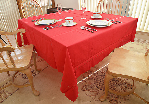"Festive tablecloth. 90"" Square. Red color"