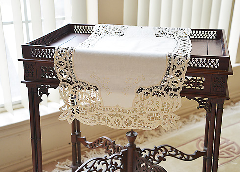 "Battenburg Lace Table Runner.Rectangular.16""x30"" Mother of Pearl"