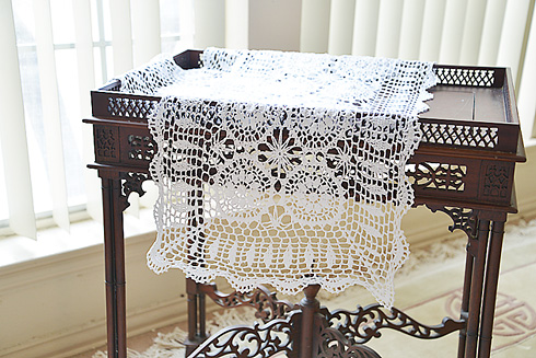 "Crochet Rose Table Runner. 16""x54"" White color"
