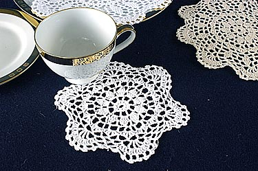 "Crochet Round Doilies. 6"" Round. Wheat color. 12 pieces."
