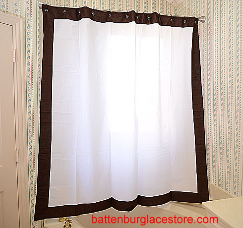 Shower Curtain. White with French Roast border
