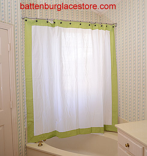 Shower Curtain. White with Macaw Green border