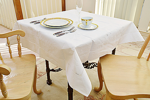 "Square tablecloth. 45"" square. Hemstitch. White color."