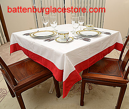 Square Tablecloth. White with color trims. 54 in. Square