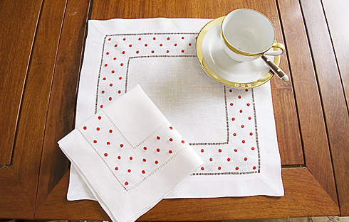 "Square Linen Placemat. Red Swiss Polka Dots. 14""sq. 1 piece."