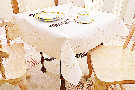 "Square tablecloth. 36x36"" Hemstitch & Embroidery. Pearl color"