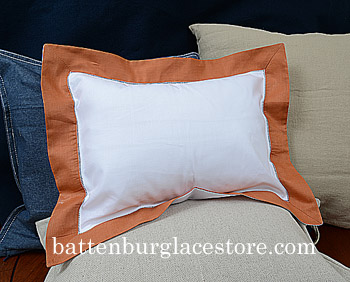 Standard Pillow Sham cover.20x26.White with RAW SIENNA color