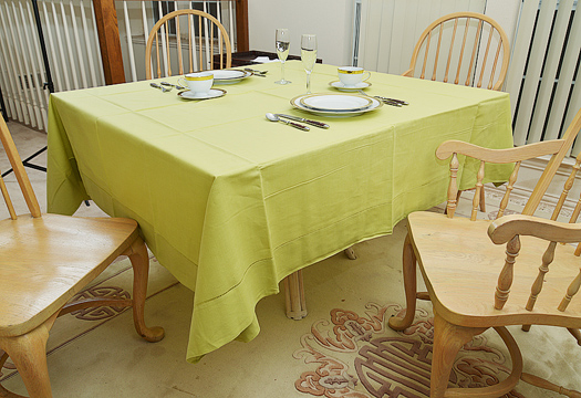 "Happy Festive 70"" Square Tablecloth. Celery Green color"