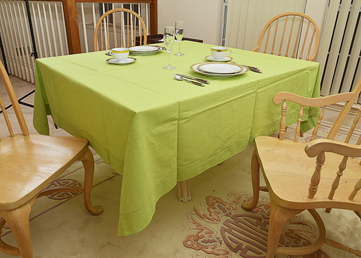"Happy Festive 70"" Square tablecloth. Bright (Macaw) Green"