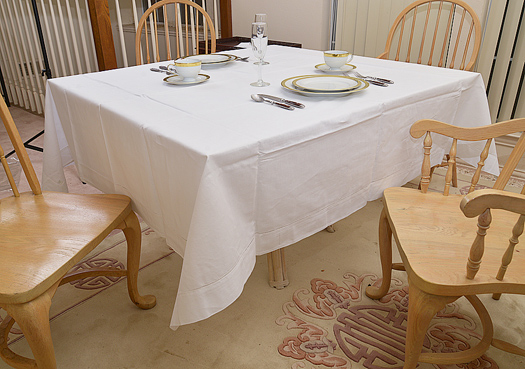 "Happy Festive 70"" Square Tablecloth. Baby Blue color"