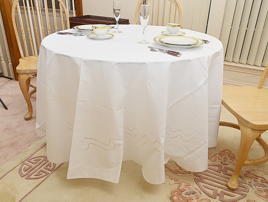 "Hemstitched 90"" Round tablecloth"