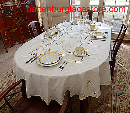 "Imperial Style Tablecloth. 48x66"" OVAL EGGNOG color"