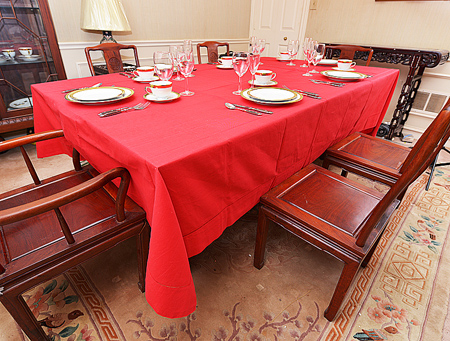 Festive Tablecloth. Red & Black.