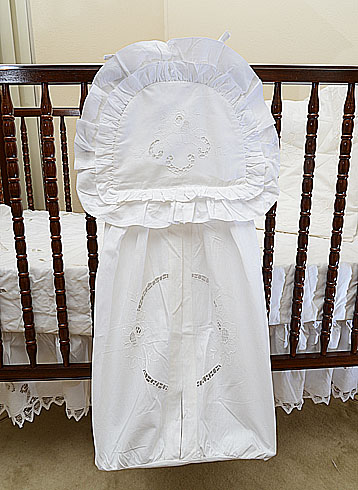 Vintage Diaper Stacker, White Embroidery Designs.