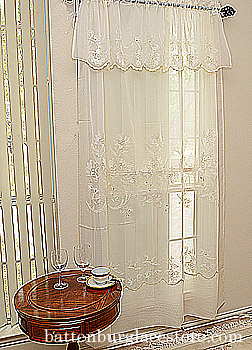 Sheer Window Lace Valance. Susan Lace 094 18x60 Ecru color