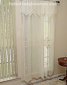Sheer Windows Valance Susan Lace.136 18x60 Ecru color