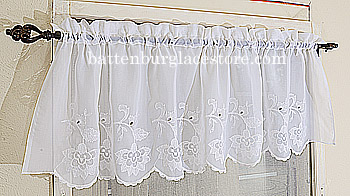 Sheer Windows Valacne. Lace Susan Style 094 White 18x60