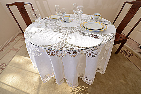 "Battenburg Lace Round Tablecloth. 68""Round.With 8 napkins. White"