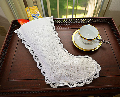 Battenburg Lace Stocking. Large Size 7x15 inches.#116