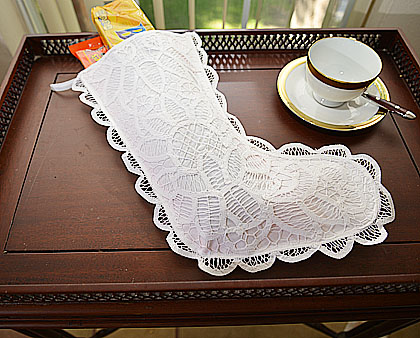 Battenburg Lace Stocking. Large 7x15inches. Style # 118