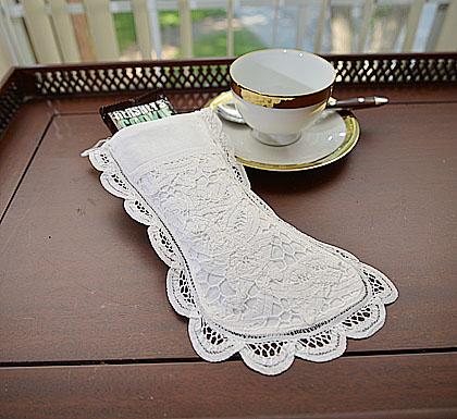 Battenburg Lace Stocking. Vingage Old Lace Small 4x9 in.