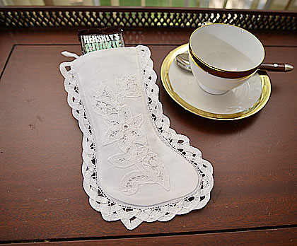 Battenburg Lace Stocking. Vintage Battenburg Deisng. 4x9in.
